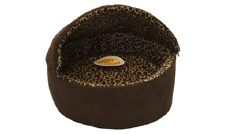 A brow indoor heated cat bed with leopard print interior from K&H.