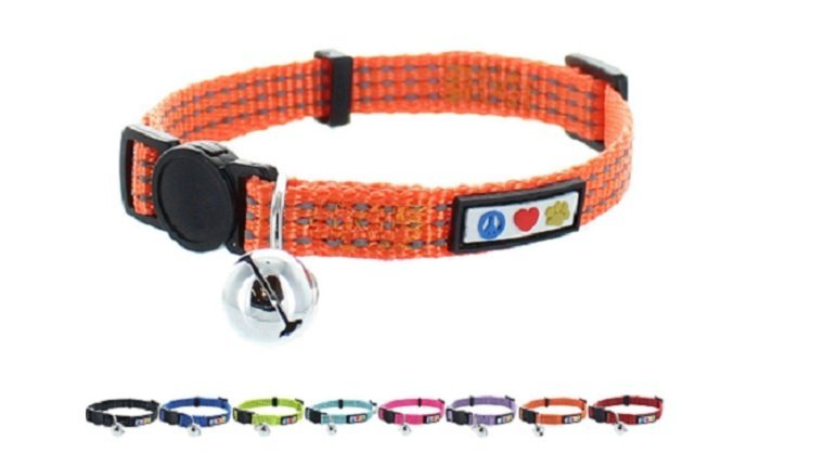 A reflective, orange cat color. Below it is an assortment of collars in other colors.