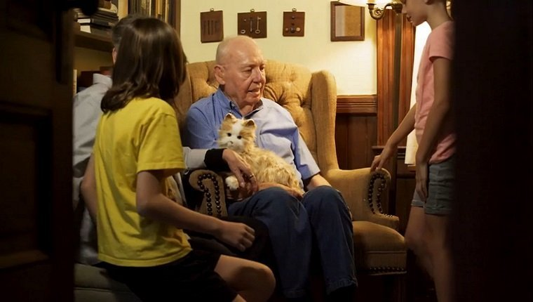An elderly man sits in an armchair with a toy cat on his lap and is surrounded by his family.