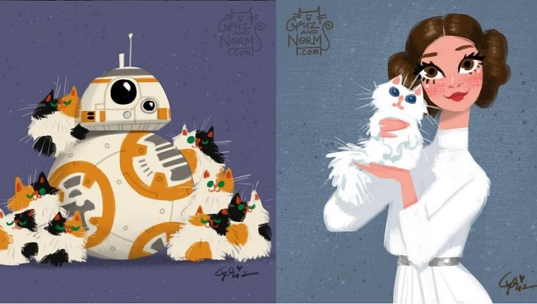 A drawing of BB-8 covered in orange and black cats and Princess Leia holding a white cat.