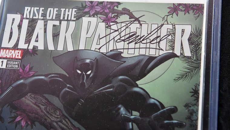 "A Stan Lee-signed copy of ""Rise of The Black Panther"" Variant Edition #1 (Marvel Comics Group, March 2018) is displayed at Julien's Auctions in Beverly Hills, California, on November 13, 2018. - The comic book is part of a selection of 20 works associated with Lee's comics universe which will be sold November 16-17 at Julien's Auctions' Beverly Hills gallery and online. Stan Lee, who was the editor-in-chief of Marvel Comics, died November 12 in Los Angeles at age 95. (Photo by Robyn Beck / AFP)"