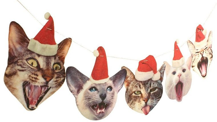 8 funny christmas cat garland