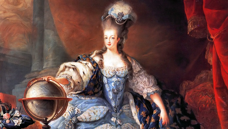 UNSPECIFIED - CIRCA 1754: Marie Antoinette, Queen Consort of France (1755 - 1793). Marie Antoinette, Queen of France, in coronation robes by Jean-Baptiste Gautier Dagoty, 1775