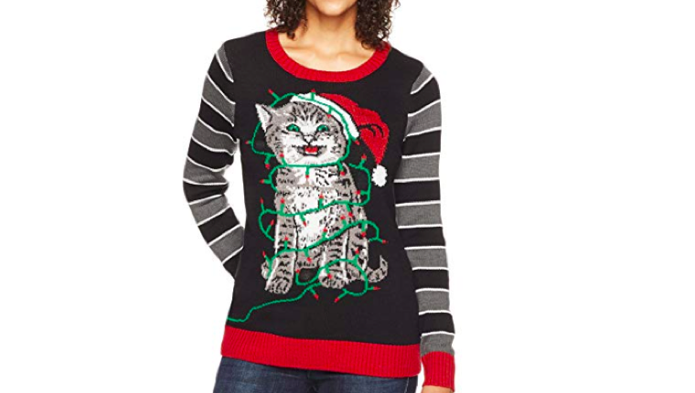 Cat holiday lights sweater