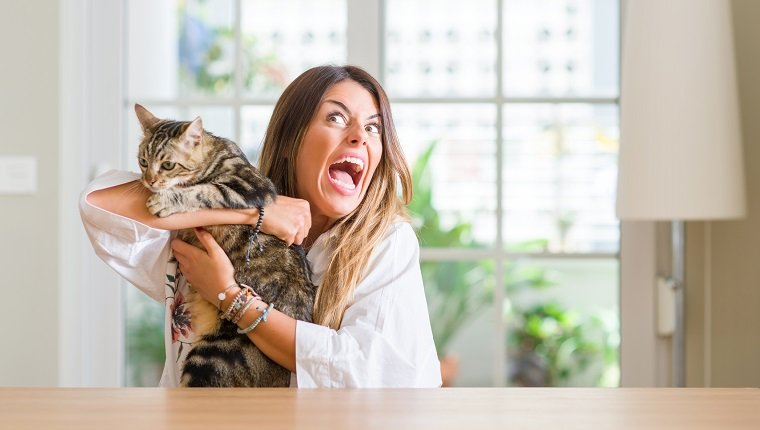 Young woman at home playing with her cat annoyed and frustrated shouting with anger, crazy and yelling with raised hand, anger concept