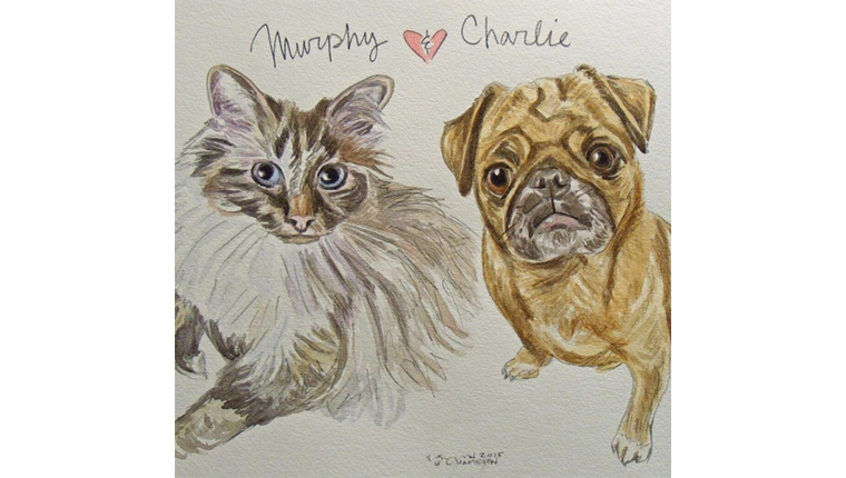 gene's watercolor of a cat named murphy and a dog named charlie