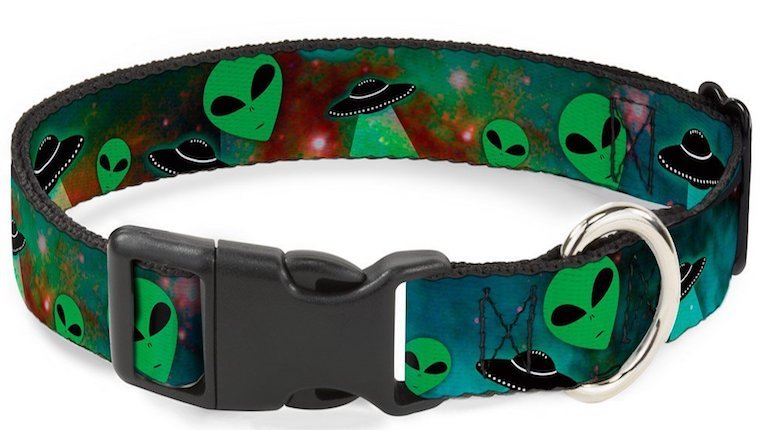 Cat collar with aliens on it