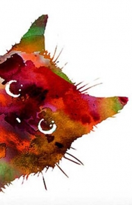 Colorful Watercolor Cat