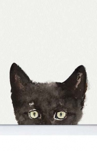 Peak-A-Boo Kitten Watercolor